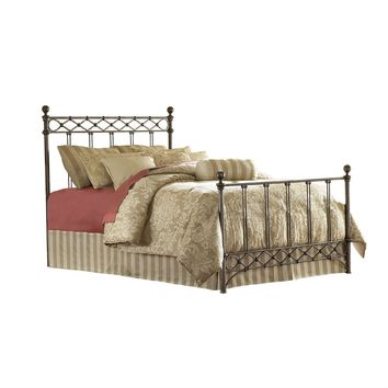 Queen size Metal Bed with Headboard and Footboard in Copper Chrome Finish