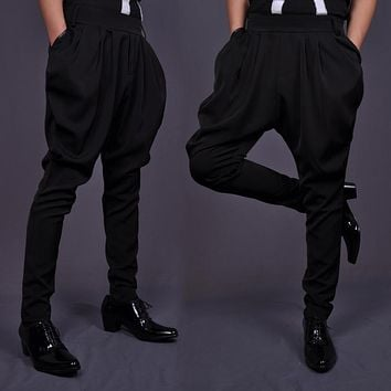 HOT 2016 New Men's Spring and summer plus size black trousers fashion vintage casual loose harem pants hairstylist costumes