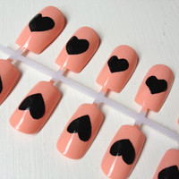 Peach & Black Hearts Handpainted Nail Art 20 by lyndarthemerciless