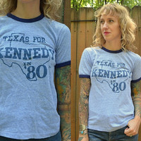 Vintage 80's Hanes Political Texas For Kennedy Blue Ringer T Shirt