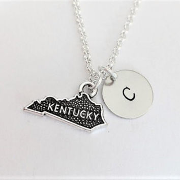 Kentucky necklace personalized initial necklace Kentucky jewelry, Kentucky map necklace friendship, Kentucky friend no matter where monogram
