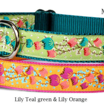 Lily flower in lime teal green or orange pink feminine ribbon cute dog collar for small dogs to large dogs 1 inch wide girl dog collar