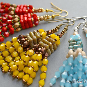 Shiny Tassels - beadwoven earrings tutorial / Beading tutorial / Earring pattern / Bead pattern / Rulla, Bicone / TUTORIAL ONLY