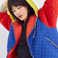 BDG Pip Color Block Quilted Hoodie Jacket | Urban Outfitters