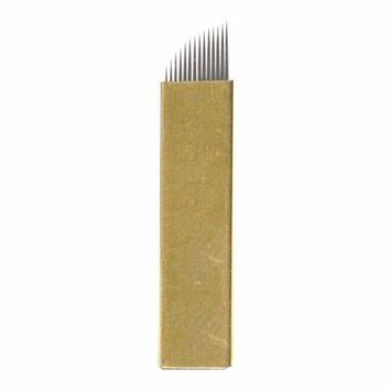 DCCKV2S FlyItem 50 Pcs Gold 14Pin Professional Permanent Makeup Blades Microblading Needles Manual Eyebrow Tattoo Curved Blade For 3D Embroidery Manual Tattoo Pen Machine Makeup Cosmetic Tool (Gold 14 Pin)