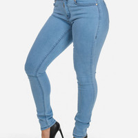 High Waist Skinny Jeans In Light Denim