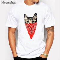 New Men Fashion short sleeve Print T shirt Male Creative Masked Cat printing t shirt tops tee