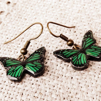 Butterfly Jewelry, Free Shipping Worldwide, Monarch Butterfly earrings, Butterfly wing earrings, Wing jewelry,Green butterfly, Green jewelry