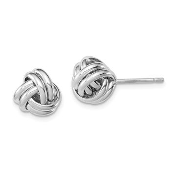 925 Sterling Silver Rhodium-plated Double Knot Post Earrings
