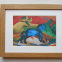 19 - Print with frame, Blue Horse, Franz Mark, Wall art, Wall pictures, Wall print, For the home, Wall hanging, Rooms decor, Birthday gift