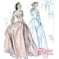 Misses EVENING Ball Gown Strapless Wedding Dress Boned Draped Bodice Butterick 4918 1950s Reissue Sewing Pattern Bust 36-38-40-42 UNCUT