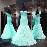 Mermaid Prom Dresses Ruffles Fitted Sexy 2017 Corset Back Long gowns graduation long dress vestidos longos formatura