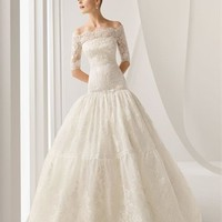 Gorgeous ball gown strapless with 3/4 sleeves white lace Wedding dresses BLRC034