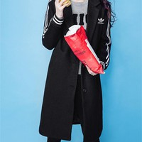 """Adidas"" Women Sport Casual Fashion Stripe Buttons Cardigan Middle Long Section Lapel Long Sleeve Woolen Coat"