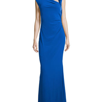 Asymmetric Neck Ruched Gown, Size: