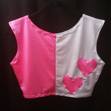 READY TO SHIP Harley Quinn Inspired Pink and White Stretch Sleeveless Crop Top