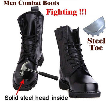 Leather Military Smash-proof Boots Fashion Black Men's Fashion Shoes Amoy = 1946681540