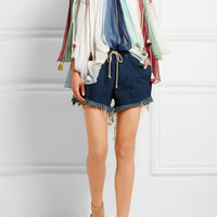Chloé - Off-the-shoulder striped silk-georgette top