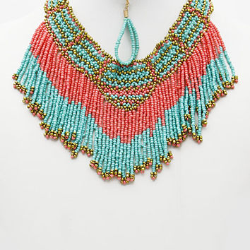 Multicolor Bead Statement Collar Necklace
