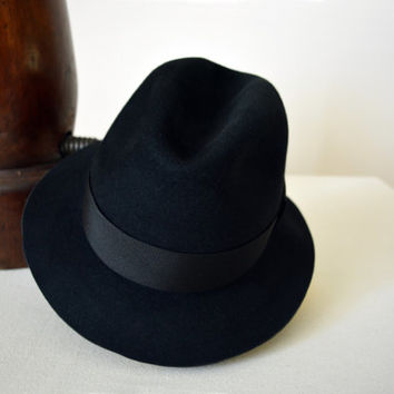 Black Fur Felt Trilby - Narrow Brim Beaver Fur Felt Blend Handmade Trilby Hat - Men Women