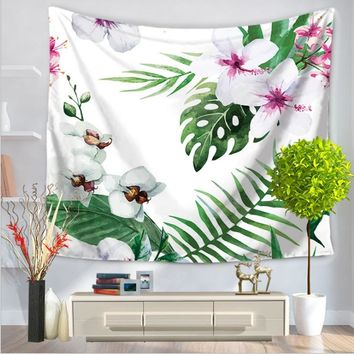 Summer Flower Tapestry Fresh Flower Hanging Beach Leaf Tree Tapestry Leaf Wall Texture Background Cannabis Leaves 1.5M*1.3M