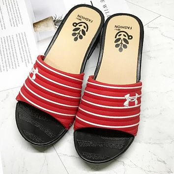 Under Armour Fashion Women Casual Thick Sole Non-Slip Beach Sandals Slipper Shoes Red I13037-1
