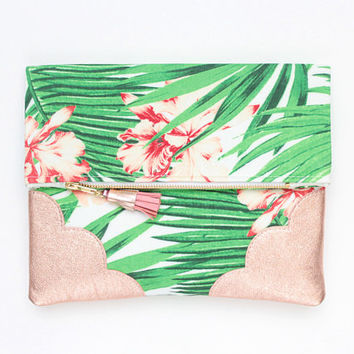 Palm clutch bag. Fold over clutch. Leather handbag. Statement purse. Tropical print fabric. Rose gold natural leather handbag /TROPICANA 8