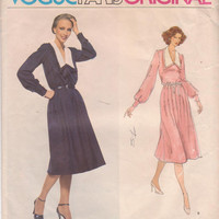 Vintage 1970s pattern for Molyneux Paris Original long sleeved, V neck dress with wide collar misses size 12  Vogue 1856 CUT and COMPLETE