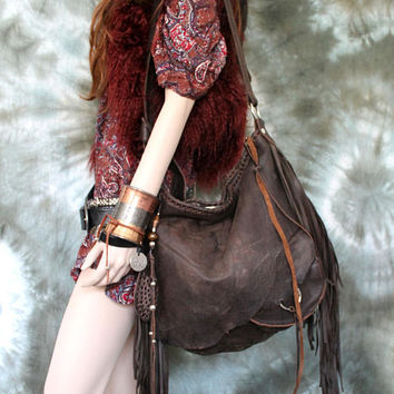 Leather bag 3d pocket silver ring hobo brown bohemian boho festival tribal african  purse sweet smoke free people distressed bag moroccan