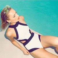 Fashion Color Block Halter Swimsuit ,Free shipping !
