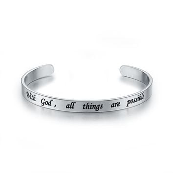Christian Jewelry - With God All Things Are Possible Stainless Steel Engraved 6mm Silver Bracelet
