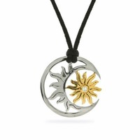 Silver-Tone Sun and Moon Necklace