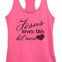 Womens Jesus Loves This Hot Mess Grapahic Design Fitted Tank Top
