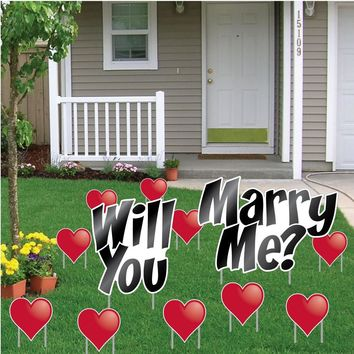 """Will You Marry Me? - Yard Card Announcement Set """" Get Engaged Set -"""
