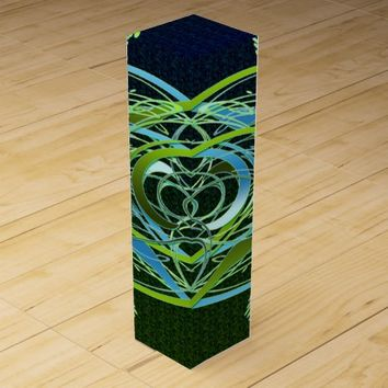 Green n Blue Swirls Wine Gift Box
