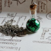Harry Potter Floo Powder Long Necklace - Green Glass Magic Vial Necklace - Harry Potter Jewelry