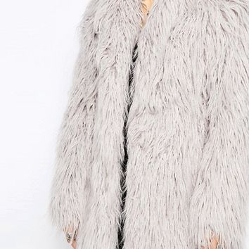 Religion Quartz Faux Fur Coat at asos.com