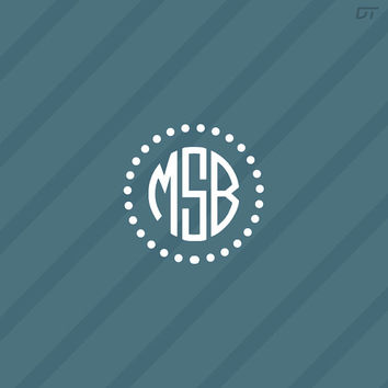 Custom Monogram Sticker Decal Style 53 - For Indoors and Outdoors - Many Styles! and Size Options! - Buy One Get One Free