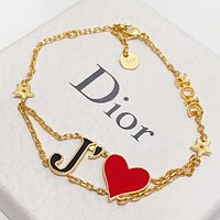 Dior New fashion love heart bracelet accessories Golden
