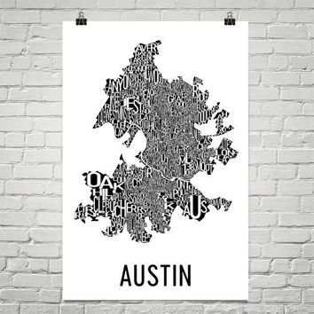Austin Neighborhood Typography Prints – Modern Map Art