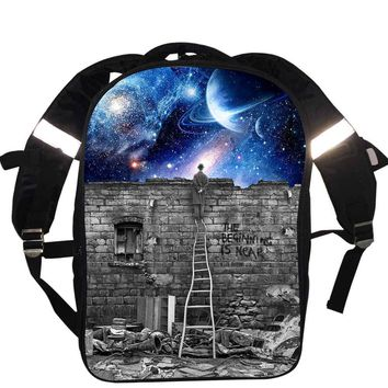 Galaxy / Universe / Unicorn / Cheshire Cat School Backpack For Teeange School Bags Starry Night / Space Star Beginning Is Near