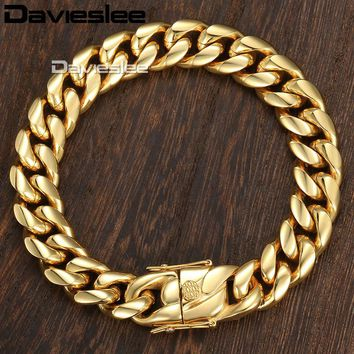 Davieslee Miami Curb Cuban Mens Bracelet Chain Hip Hop 316L Stainless Steel Silver Gold Color 8/12/14mm 9inch DHBM111