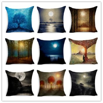 home decor cushion cotton linen throw pillow forest scenic plants printed cozy comfortable seat back cushions pillowcase 45x45cm