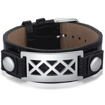 Leather and Stainless Steel X Pattern Belt Buckle Unisex Bracelet - Black