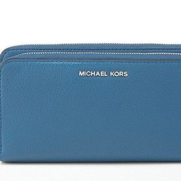 NWT MICHAEL KORS Adele Double Zip around Leather Wallet Clutch Steel Blue $178