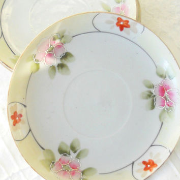 Nippon Small Plates, Set of 4, Antique, Hand Painted, Elegant Dinner Party Plates, Made in Japan,  Ca. 1930-1940's