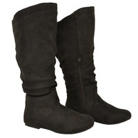 Twisted Women's Shelly Wide Calf Fashion Scrunch Boot - BLACK, Size 8