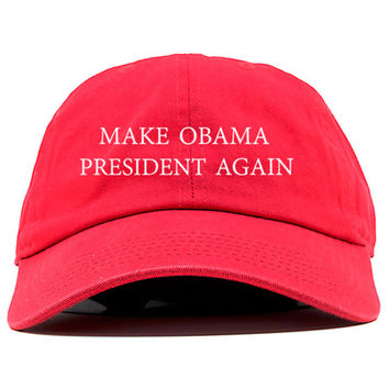 Make Obama President Again Dad Cap Baseball Hat Brand New-Red