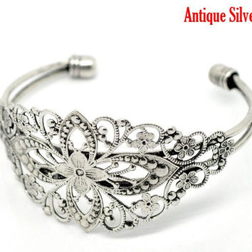 "DoreenBeads Vintage Antique Silver Filigree Flower Bangles Bracelet 16.5cm(6-1/2""),sold per pack of 4"