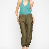 BCBGMAXAZRIA - SHOP BY CATEGORY: BOTTOMS: VIEW ALL: BCBGENERATION DRAWSTRING CARGO PANT